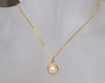 Pearl Necklace , June Birthstone Necklace , Bridesmaids Necklace , Gold Shell Pearl Necklace
