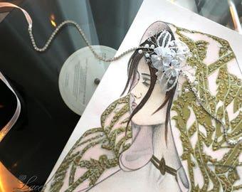 Bridal hair accessory with organza flowers, bridal headpiece