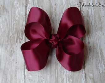 "Burgundy Satin Large Hair Bow 4"" Christmas Hairbow 4"" Hair Bow Large Hair Bow Girl Hairbow Wine Satin Bow Maroon Hairbow"
