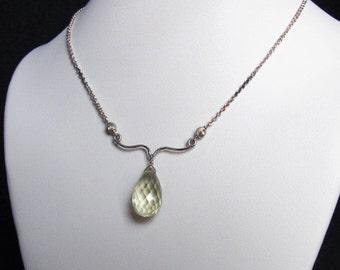 Lemon Quartz Necklace with Silver