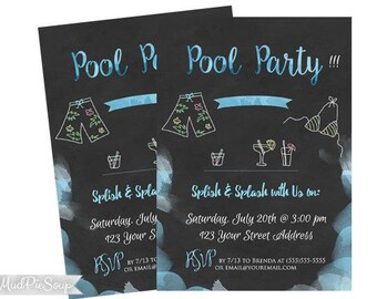 Printable Adult Pool Party Summer Invitations - Pool Party Birthday Parties Chalkboard Watercolor / Digital Invite
