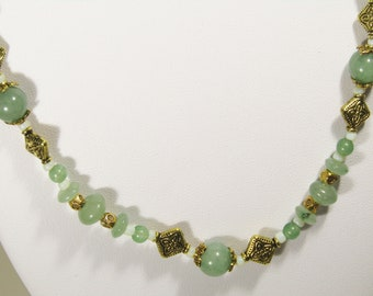 Green Aventurine Gemstone Necklace with Gold Accents