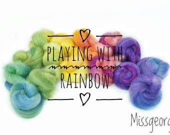 Spinning fiber - Fiber nests - Polwarth/soie (70/30) - 50 gr - Playing with the rainbow