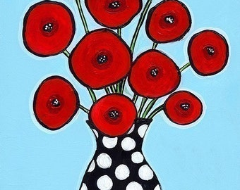 Red Poppies Aqua - Polka dots Shelagh Duffett print