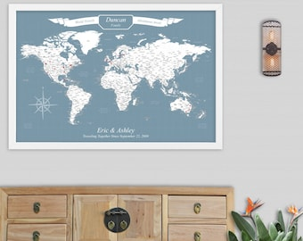 Travel Wall Map Personalized Wedding Gifts for Groom World Push Pin Map United States Map with Pins Detailed Travel Map Mounted Maps
