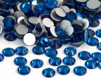 Capri Blue Glass Rhinestones for Embellishments 2-6mm