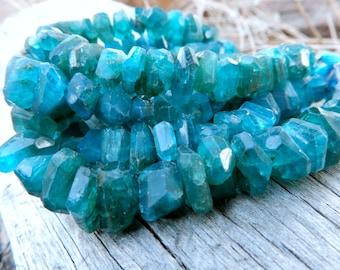 Apatite semiprecious gemstone beads - Chunky Nuggets 3 3/4 inches - 10mm X 6mm