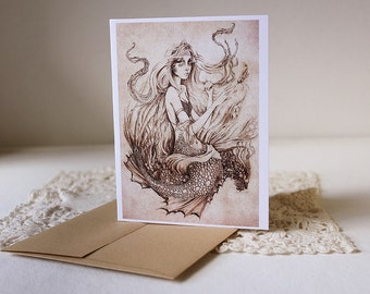 On the Seafloor Greeting Card // Print of Original Fantasy Illustration