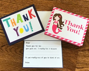 CUSTOM...Kids Fill in the Blank Thank You Card. Personalized design