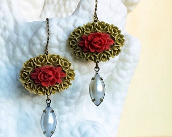 Red Green Flower Earrings, Flower Cameo Pearl Earrings, Red Green Pearl Earrings