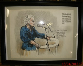 """Framed & Signed 20""""x15"""" David Rose Courtroom Artist Sketch of Witness Lise Lesevre Testimony at Klause Barbie Trial May 1987 RARE! Framed"""