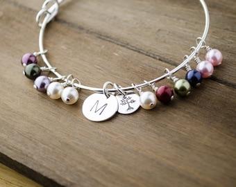 Large Family Tree Adjustable Bangle Bracelet   Generations Jewelry   Initial Birthstone Bangle   Tree Bracelet   Hand Stamped Jewelry