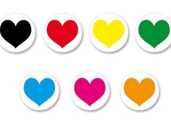 Lot Pins Ø25mm - o38mm Pinback Button Badge / Magnet o38mm heart Love Heart Love