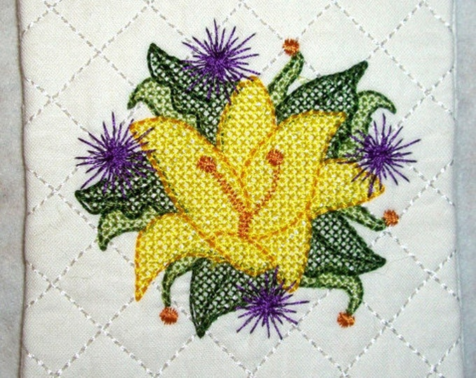"""ITH Floral Coasters  ( 12 """"In The Hoop"""" Machine Embroidery Designs / Project from ATW )"""