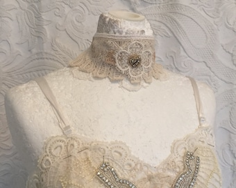 Wedding assesories, unique wedding  ragged cotton , lace , choker with pearls,handmade, one of a kind, unique, bridal choker