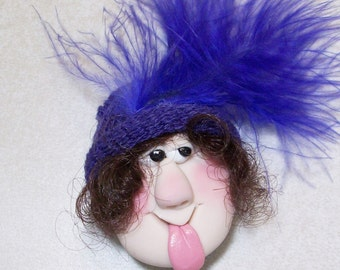 Stick your tongue out face magnet, funny face fridge or office magnets purple