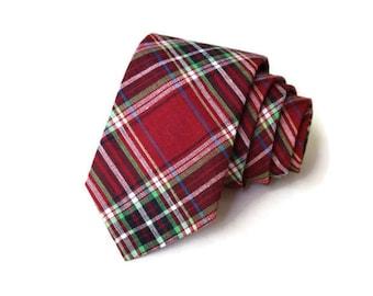 Necktie~Plaid Necktie~Anniversary Gift~Wedding Tie~Mens Gift~Boys Necktie~Mens Necktie~Wedding~HoBo Ties~Mens Tie~Boys Tie~Red Plaid Tie