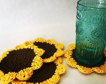 Sunflower Drink Coasters, set of four