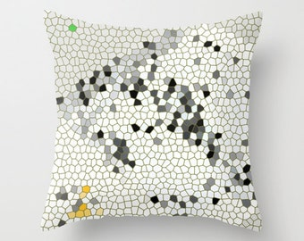 Big Addition - Architectural Abstract, Pillow Cover,6 SIZES, poly fabric, cotton, linen,home decor,black,white,yellow,graphics,mosaic,modern