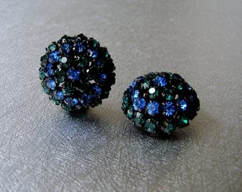 Vintage Rhinestone Dome Earrings Royal Blue Green Antiqued Black Setting Peacock Wedding Formal Bridal Pageant Ballroom Prom Cocktail Party