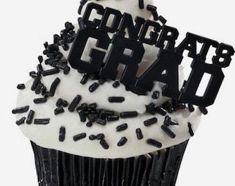 24 Black Congrats Grad Cupcake Picks Graduation Party Supplies Cake Toppers
