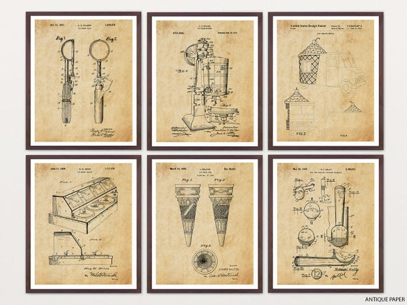 Ice Cream Patent Art - Ice Cream Poster - Ice Cream Art - Ice Cream Decor - Ice Cream Shop - Ice Cream Cone - Ice Cream Scoop - Chocolate