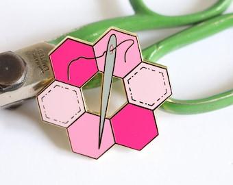 hexie enamel pin, crafty enamel pin, hard enamel pin, enamel pin set, sewing enamel pin, pingame, craft enamel pin, cute enamel pin, PINK