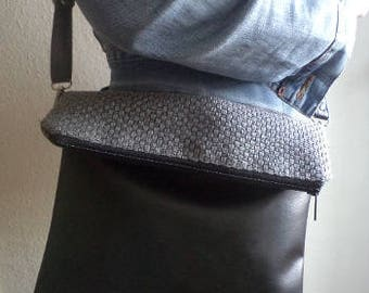 Black vegan leather and upholstery bag, crossbody purse, everyday shoulder bag