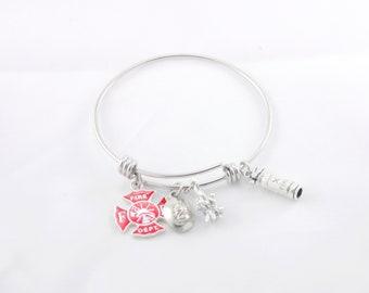 Fire Fighter Bangle Bracelet | Fire Department Charm Bracelet | Fireman Hat | First Responder | EMT | Graduation Gift | Stainless Steel