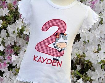 Personalized Girl Cow Birthday Shirt / Ruffle Short Sleeve