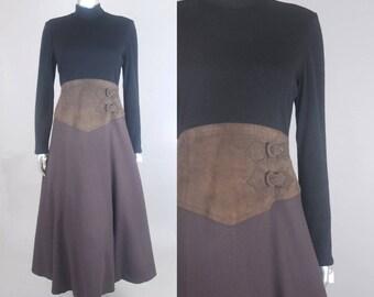 Bill Blass wool suede dress  | 1980s colorblock dress | vintage 80s dress