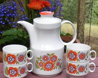 RESERVED for MARIA - SALE Mod Flower Coffee Tea Pot and Four Cups