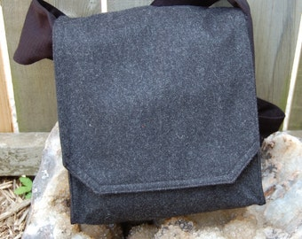 Stylish Charcoal Wool Messenger Bag