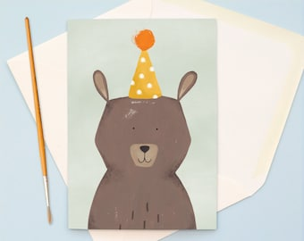 Cute Bear in Party Hat A6 Hand Illustrated Birthday Card