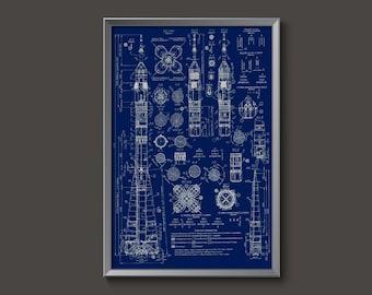 Vintage Russian Soyuz Rocket Blueprint Poster | soyuz rocket plans rocket ship deoor USSR spaceship russian rocket ship decor cosmonaut