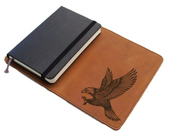 Handmade Moleskine Notebook Leather Cover - Swooping Eagle (FREE PERSONALIZATION)