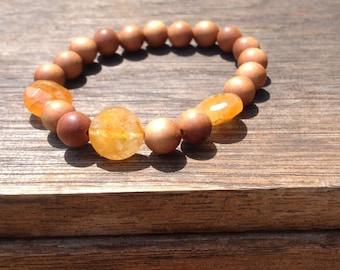 Sandalwood  bracelet and faceted Citrine gemstone, 8mm Fragrant sandalwood bracelet, boho chic