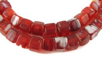 Kancamba Trade Beads Bohemian Africa Red Cubes 120431