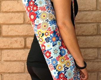 Yoga Mat Bag, Yoga Mat Tote, Yoga Bag, Yoga Tote, Yoga Sling, Yoga Sac, Yoga Sack, Red yellow and blue Modern Floral, Handmade, REFRESH