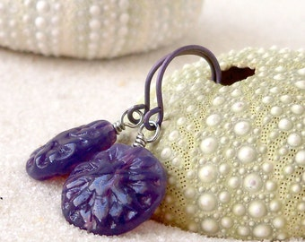 Glass Bead Earrings - Glass Bead Jewelry - Hypoallergenic Titanium Dangle Earrings - Purple Earrings - Boho Jewelry - Beaded Dangle Earrings