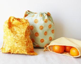 lot de 3 sacs à vrac réutilisables zéro déchets en tissu couleur vive  jaune orange et vert et lien coulissant, sac de courses en coton