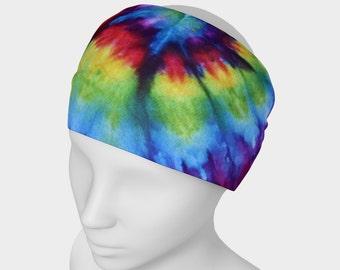 Tie Dye Headband - Hair Accessory - Scarf - Face Warmer - Versatile Accessory - Bandana - Rainbow - Red Orange Yellow Green Blue Purple