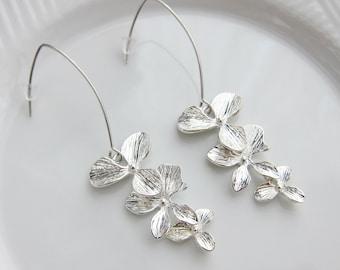 Dangling Orchid Silver Linear Earrings - bridal earrings, bridesmaid earrings, flower dangle earrings