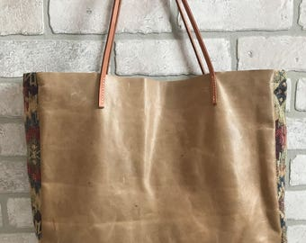 Genuine Leather Jacquard Tote Hand Bag Purse