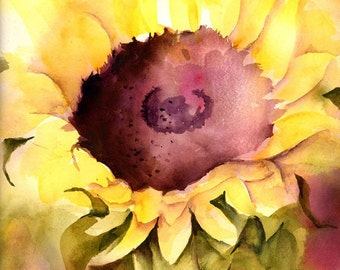 Sunflower Watercolor Painting Print by Connietownsart, Floral Watercolor, Sunflowers Art, Matted to 11x14, Gift for Her