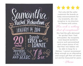 "Birth announcement, 11"" x 14"" art board, chalkboard style custom ink drawing [Samantha]"