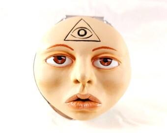 Psyché visage de poupée miroir de poche