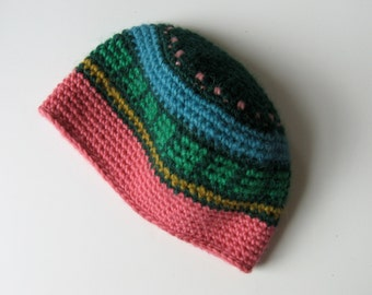 forest green and pink size 1-2 toddler wool hat