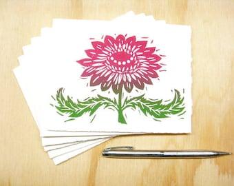 Greeting Cards - Magenta Flower - Set of 6 - Block Printed Cards