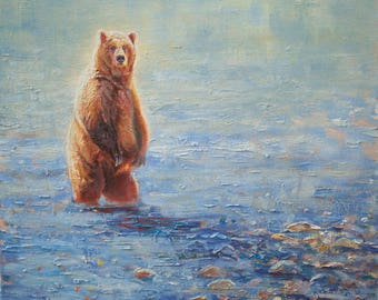 Fisherman-Grizzly Bear (original oil on canvas)